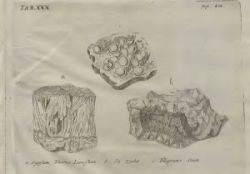 Stones and minerals on illustation of Reise igiennem Island (1772; Travels in Iceland) book of Eggert Olafsson and Bjarni Pálsson