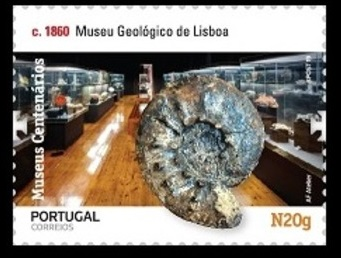 Jurassic Ammonite on stamp of Geological museum in Lisbon of Portugal 2019