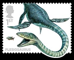 Plesiosaur on stamp
