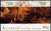 Fossil cave - Naracoorte on stamp of Australia 1996