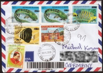 Overprinted stamp of Dunkleosteus on register letter from Benin to Germany