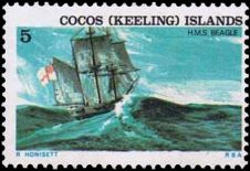 HMS Beagle on stamp of Cocos islands 1976