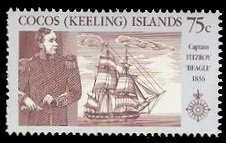 Fitz Roy captain of HMS Beagle on stamp of Cocos islands 1990