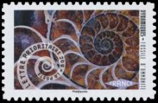 Ammonite on stamp of France 2014