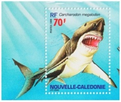 Carcharocles.megalodon on stamps of New Caledonia 1999
