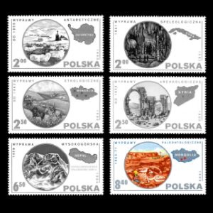 Dinosaur fossil and paleontologists at work on stamp of Poland 1980