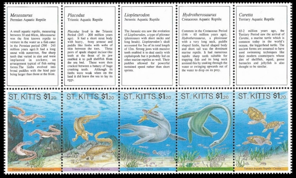 Gutter pair of stamps with prehistoric animals of Saint Kitts 1994