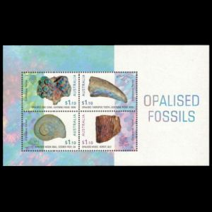 Opalised fossils on mint Mini-Sheet of Australia 2020