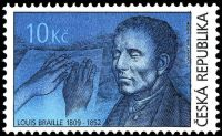 Louis Braille on stamp of Czech Republic 2009