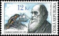 Charles Darwin on stamp of Czech Republic 2009
