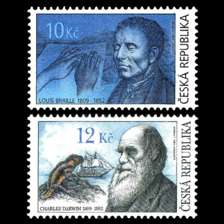 Charles Darwin and Louis Braille on personalities stamps of Czech Republic 2009