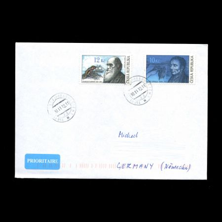 Charles Darwin and Louis Braille on used covers of Czech Republic 2009