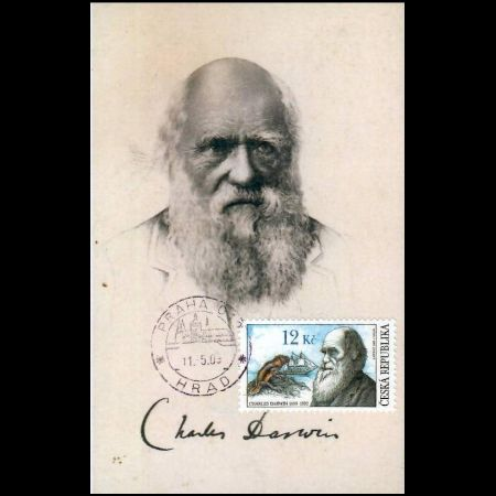 Charles Darwin on maxi card of Czech Republic 2009