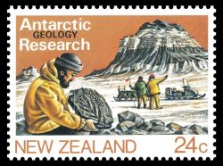 Plant Fossil on Geological Research stamp of New Zealand 1984