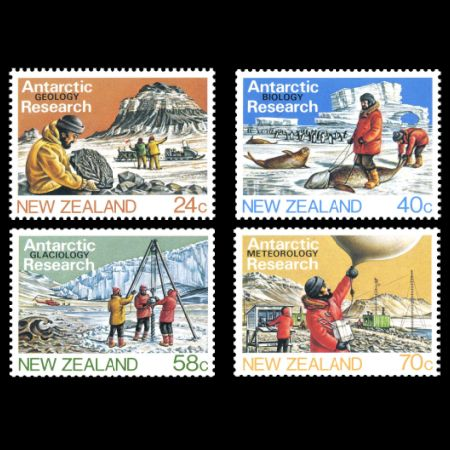 Plant Fossil on Antarctic Research stamps of New Zealand 1984