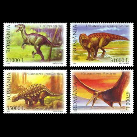 Dinosaurs and other prehistoric animals on stamps of Romania 2005