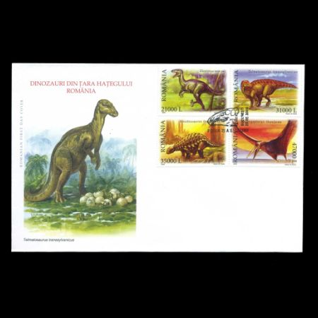 Dinosaurs and other prehistoric animals on FDC of Romania 2005