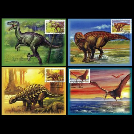 Dinosaurs and other prehistoric animals on Maxi Cards of Romania 2005