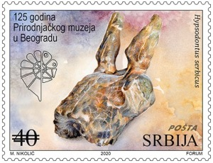 EXTlNCT CROOKED HORNED ANTELOPE Hypsodontus serbicus on stamp of Serbia 2020