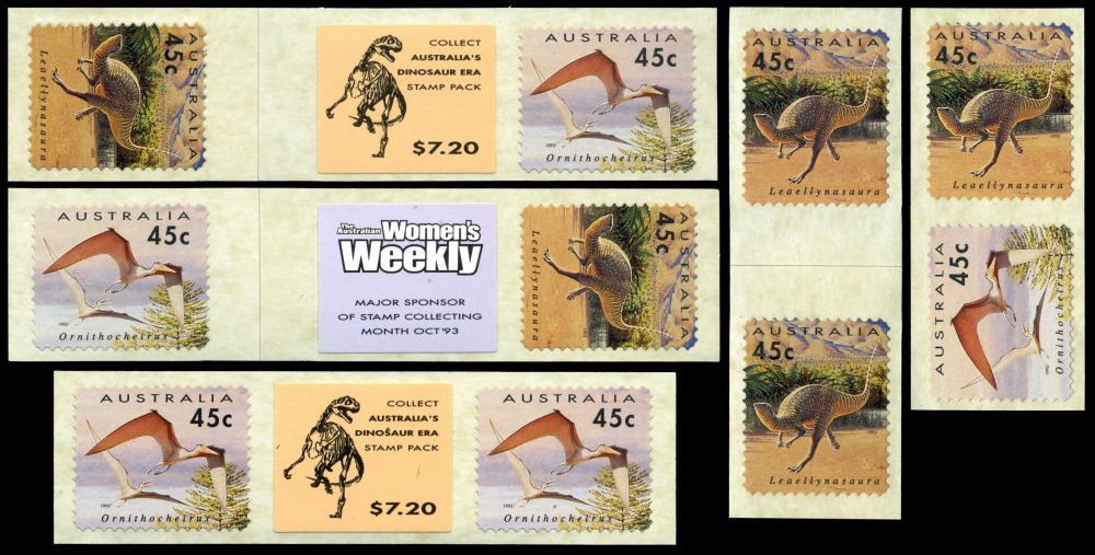 Variations of the fisrt self adhesive stamps from a roll with prehistoric animals on it