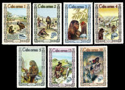 First pictorial stamps depicting prehistoric human
