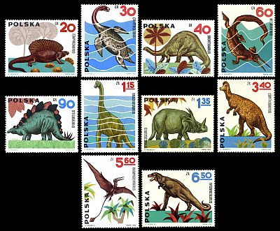 First pictorial stamps depicting prehistoric animals