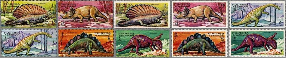 Prehistoric animals on stamps of Fujeira 1968