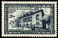 Human Paleontology museum on stamp of Monaco 1949