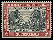 first reconstruction of a prehistoric animal on stamp of India 1951