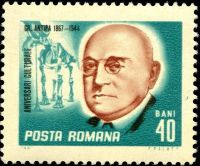 Grigores Antipa with fossil of Dinotherium on stamp of Romania 1967