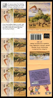 The first booklet of self adhesive stamps with prehistoric animals on it