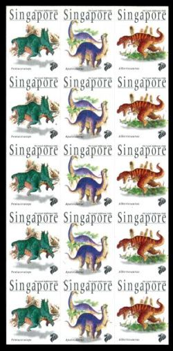 First ATM stamps depicting dinosaurs issued in Singapore 1998