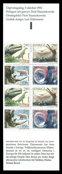 Dinosaur and other prehistoric animals on stamp booklet of Sweden 1992