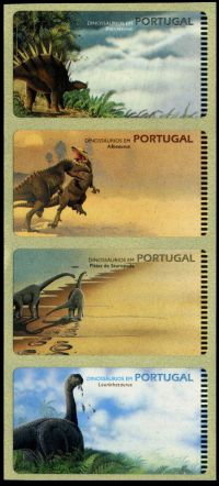 Firt FRAMA stamps with Dinosaurs, Portugal 1999