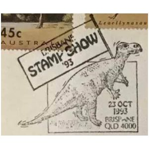 Muttaburrasaurus dinosaur on commemorative postmark of Australia 1993 - Brisbane