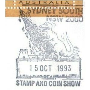 Stylized dinosaur on commemorative postmark of Australia 1993 - Sydney