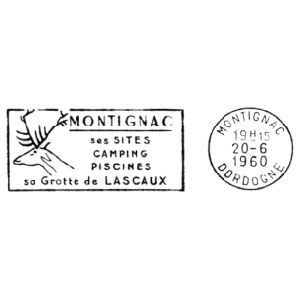 Megaloceros giganteus on commemorative postmark of France 1960