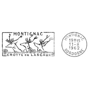 Megaloceros giganteus on commemorative postmark of France 1962