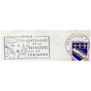 Prehistoric animals on commemorative postmark of France 1964