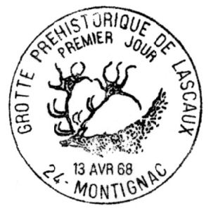 Megaloceros giganteus on commemorative postmark of France 1963-1983