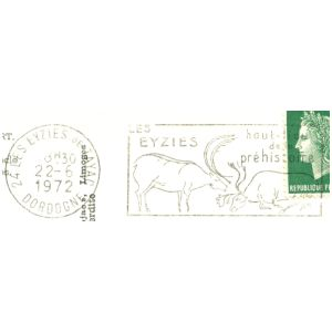 Prehistoric animals on commemorative postmark of France 1963-1983
