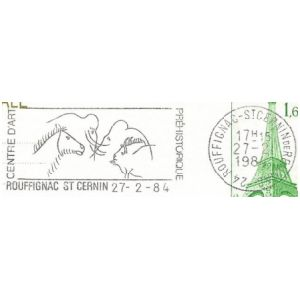 Prehistoric animals on commemorative postmark of France 2006