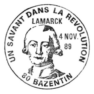 Jean Baptist Lamarck on commemorative postmark of France 1989