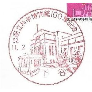 National Science Museum on commemorative postmark of Japan 1977