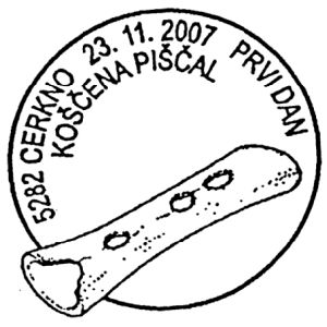 Musical instrument from bone of cave bear on postmark of Slovenia 2007