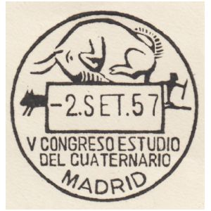 Steppe bison from cave piantig in Altamira cave on commemorative postmark of Spain 1957