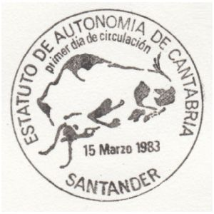 Steppe bison from cave piantig in Altamira cave on commemorative postmark of Spain 1983