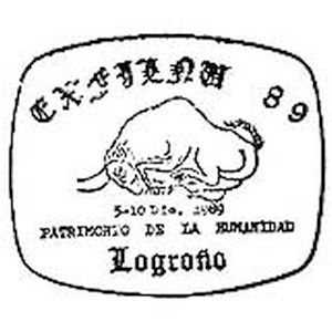 Steppe bison from cave piantig in Altamira cave on commemorative postmark of Spain 1989
