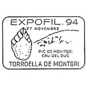 Flint tool on commemorative postmark of Spain 1994