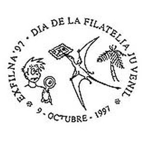 Pterosaur on commemorative postmark of Spain 1997